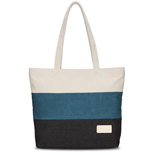 Canvas Elegant Handtaschen Damen Große Shopper Gestreifte Tote Tasche Vintage Umhängetasche für Frauen Schwarz