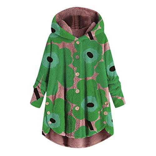 iHENGH Damen Herbst Winter Bequem Lässig Mode Jacke Frauen Mode Frauen Knopf Mantel Flauschige Schwanz Tops Mit Kapuze Lose Mantel (Cat Snake Kostüm)