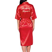 Hibote Boda Seda Satén Ropa de Dormir Personalizada Bata de Boda Dama de Honor Novia Madre