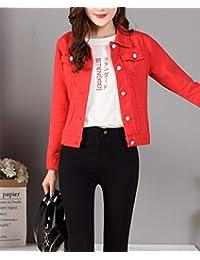 rote damen jeansjacke