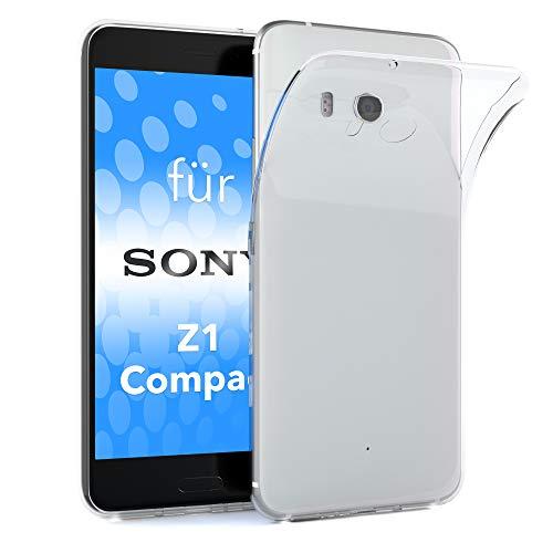 EAZY CASE Hülle für Sony Xperia Z1 Compact Schutzhülle Silikon, Ultra dünn, Slimcover, Handyhülle, Silikonhülle, Backcover, Durchsichtig, Klar Transparent