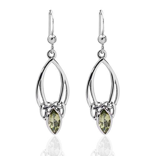 DTPsilver -Damen - Ohrringe 925 Sterling Silber mit Peridot Keltisch Design