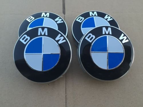 Set of 4 bmw centre wheel cover caps rim badge hub for sale  Delivered anywhere in UK