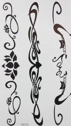 Mode fleur de chat noir et totémiques stckers de tatouages temporaires