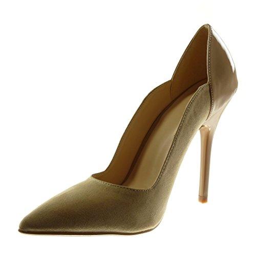 1b0f4e6c1ec37 Verni Chaussure Aiguille Stiletto Haut Cm Escarpin Mode 11 Angkorly Beige Femme  Talon O1TqXxwn