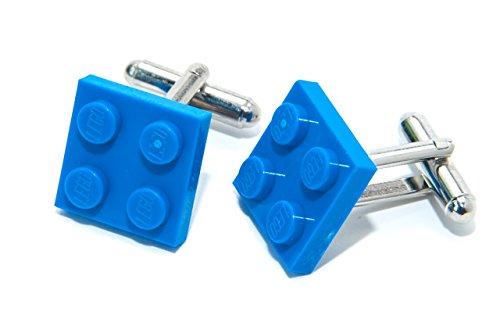 Jeff Jeffers Lego Plaque boutons de manchette bleu avec fabriqué