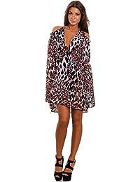 c73dd12cb289 Toocool - Vestito Donna Scollato Leopardo Animalier Elegante Abito Maniche  Campana JL-2737  Taglia