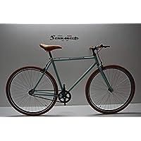 Cicli Ferrareis Bici Bicicletta Fixed Bike 28 Scatto Fisso Single Speed Verde Acqua e Marrone Personalizzabile