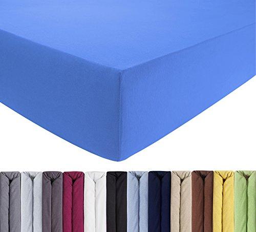 ENTSPANNO Jersey-Luxus-Spannbettlaken 140 x 200 | 160 x 220 cm für Wasser- und Boxspringbett in Königs-Blau aus gekämmter Baumwolle. Spannbetttuch mit Einlaufschutz, bis 40 cm hohe Matratzen