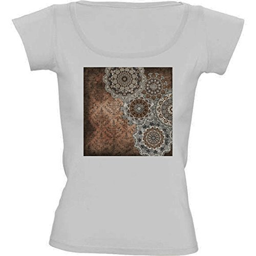 round-neck-white-t-shirt-for-women-medium-size-mandala-vintage-by-gatterwe