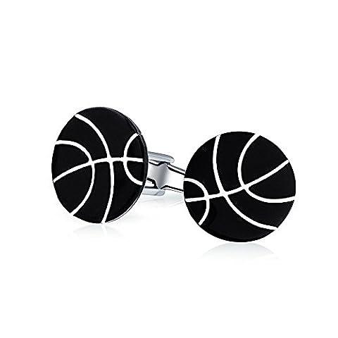 Bling Jewelry Black Enamel 925 Silver Mens Sports Basketball Cufflinks