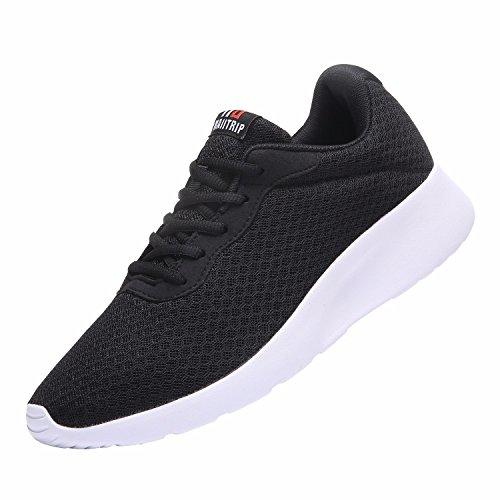 MAIITRIP Laufschuhe Herren Casual Sportschuhe Leichte Gym Sneakers Fitness Turnschuhe Mesh Sport Schuhe,Schwarz/Weiß,EU-45