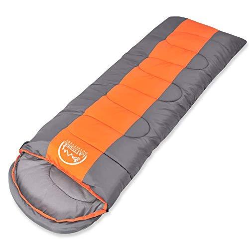 NSQY Schlafsack, Doppel-Umschlag-Schlafsack, Ultraleicht mit Kompressionssack für Kinder, Erwachsene, Teenager, 3-4 Jahreszeiten Camping, Wandern, Reisen, Rucksacktouren usw,Orange