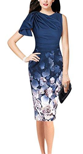Brinny Femme robe Imprimé fleur jupe robe sans manches robe à crayon style élégant Bleu