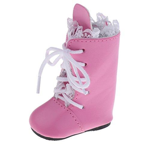 Sharplace Modische Puppen Winter Schuhe Stiefel mit Schnürsenkel Für 18 Zoll Mädchen Puppe - Pink & Weiß