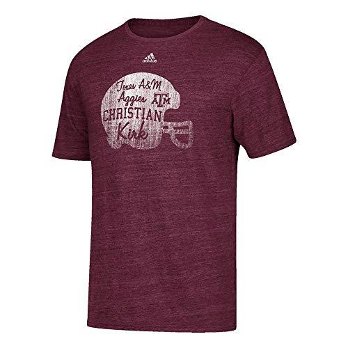 adidas Herren T-Shirt Christian Kirk Texas A&M Aggies Player Tri-Blend Distressed Maroon, Herren, kastanienbraun, Large -