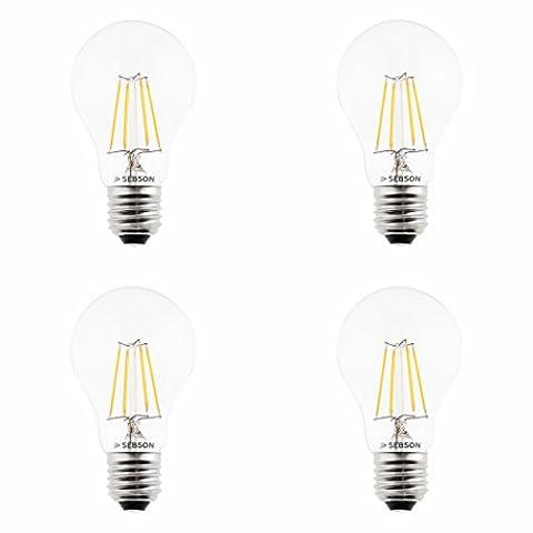 SEBSON LED Lampe E27 4W (4.5W), ersetzt 40W Glühlampe, warmweiß, 450lm, Filament Birne, 160°, 4er Pack
