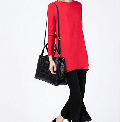 Donne Moda 2 Pezzi Rosa Impressionante Borsa Borsa Tote In Pelle Borsa A Tracolla Multicolor Black