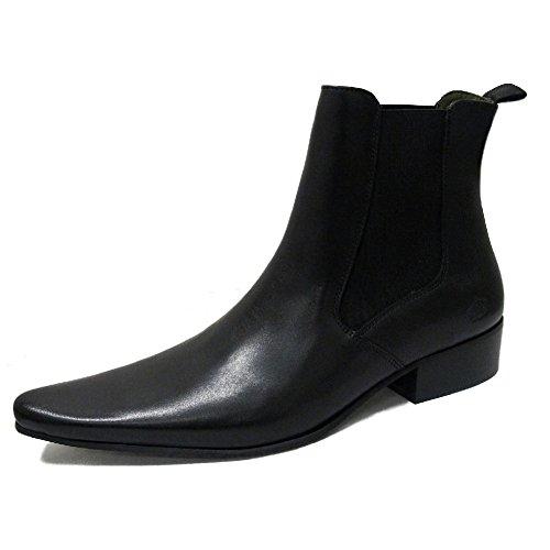 Ikon Revolver - Herren Chelsea/Beatle Boots - Spitz zulAußend - Leder - Schwarz - EU43 UK9 (Leder Jahre Schwarz 60er)