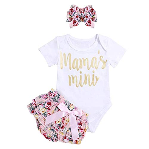 Gaga city 3pcs Baby Mädchen Kleidung Set Neugeborenes Kleid Prinzessin Outfits Strampler+Shorts+Stirnband