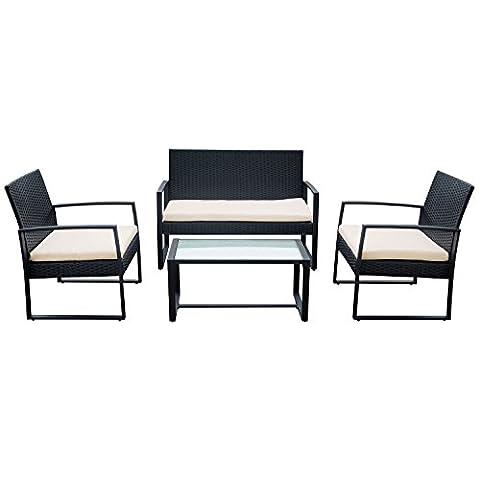 Salon de jardin MAJORQUE en résine tressée noir 4 places - coussins blancs