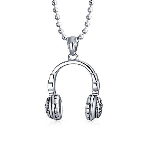 Bling Jewelry Kopfhörer Anhänger Hip Hop Music Lover Dj Halskette Für Herren Edelstahl Kugelkette 20 Zoll