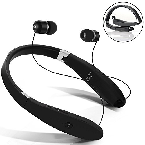 Auricolare Bluetooth Cuffie Bluetooth 4.1 Senza Fili Disegno Neckband con Earbuds Retraibile per Iphone, Android, Tablet, altri Dispositivi Abilitati Bluetooth (Nero)
