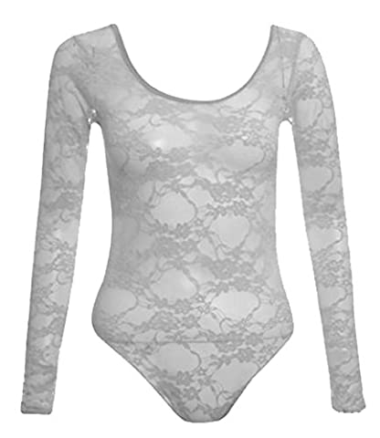 New Womens Neon Floral Lace Full Sleeve Leotard Bodysuits Top ( White , UK 8-10 / EU 36-38 )