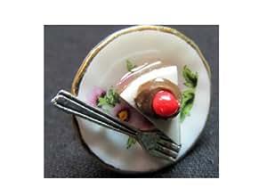 Miniblings Tortenring Ring Torte Fingerring Kuchenteller mit Gabel Blume Kuchenstück