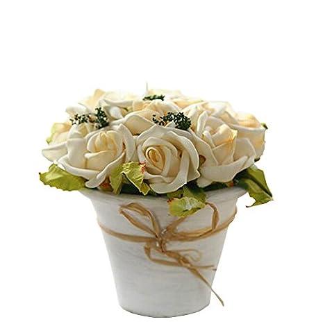 PU Rose Topfpflanzen Künstliche Blumen Anzug Wohnzimmer Dekor Champagne Typ S