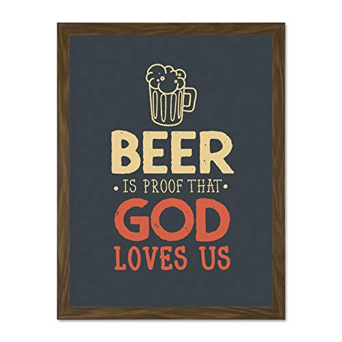 Doppelganger33 LTD Quote Word Art Typography Motivation Franklin Beer God Love Large Framed Art Print Poster Wall Decor 18x24 inch Supplied Ready to Hang