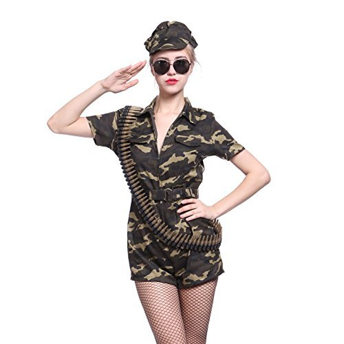 Anladia Damen Kostüm KanevalKostüm USA Armee Tarnfarbe Millitär Overall Set Army Kostüm Armee L (Girl Army Kostüme Halloween)