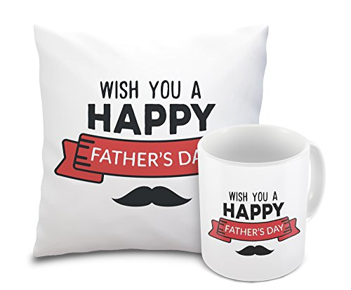 Sleep Nature's Happy Father's Day Designer Printed Cushion Cover And Mug Gift Combo Pack Cushion Cover Size (16 X 16 Inch)