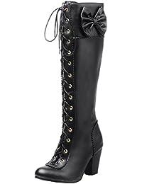 AIYOUMEI Damen Blockabsatz High Heels Winter Langschaft Stiefel mit  Schleife und Schnürung Süß Kniehohe… 98d7060ee9
