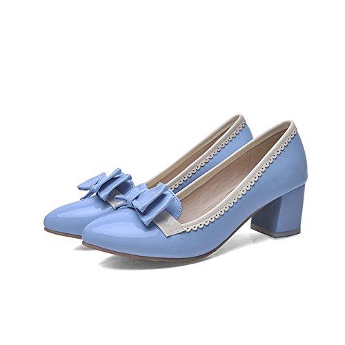 VogueZone009 Femme Fermeture D'Orteil Pointu à Talon Correct Pu Cuir Couleurs Mélangées Chaussures Légeres Azur