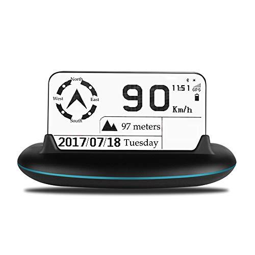 ZRK Neue Escort Head-Up Display Car Hud Car Universal Hd Display Wireless Digital Car Speed Altitude Instrument Kompass Satellite Clock Solar Energy (Escort Smart)