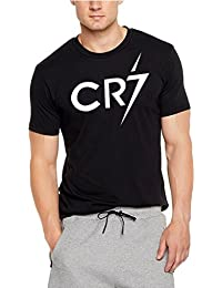Elli Beth Cristiano Ronaldo Fans CR 7 Men's Cotton Round Neck Half Sleeve Navy Blue & Black Colour (Black, Medium)