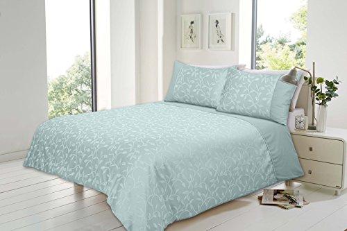 Hendem® Florence Jacquard Duvet Cover Modern Bedroom Damask Quilt Cover Bedding Set With Pillow Case (Double, Florence Duck Egg)