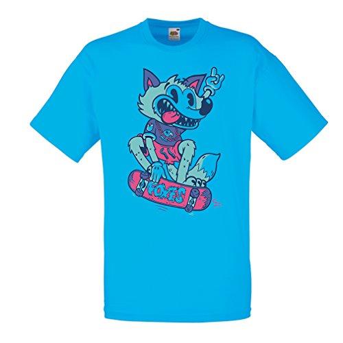 Männer T-Shirt Skater Fuchs - Streetwear, Urban Bekleidung, Skateboard Bekleidung, Skate Ausrüstung (Small Blau Mehrfarben)