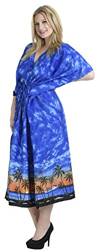 La Leela croisière maillots bain terrain lisse tout en bikini dames couvrir casual robe soirée plus pansement nuisette loungewear soirée profonlong cou lâche kimono drastring robe maxi caftan bleu étonnant