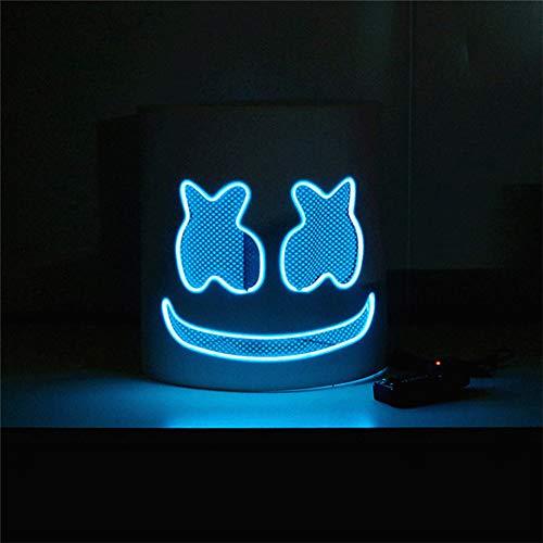 Queta DJ Marshmello Maske Party Musikfestival LED Leuchten Maske Helm Vollkopf Cosplay Kostüm Halloween Karneval Weihnachten Festival Bar Maske Batterie Angetrieben(Nicht Enthalten) (Blau)