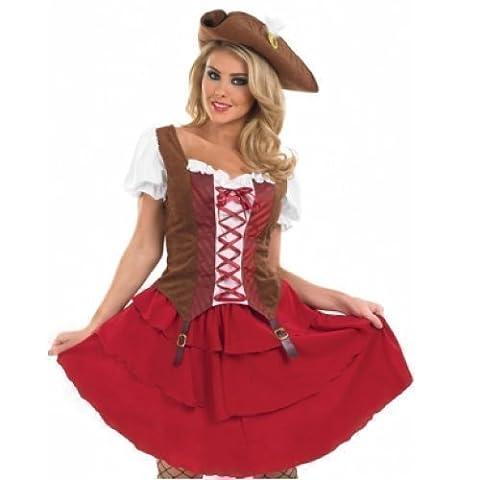 Damen Sexy Deck Hand Piraten-Party Junggesellinnenabschied Halloween Kostüm Kleid Outfit UK 8-30 Übergröße - Rot, (Piraten-mädchen-kostüm Uk)