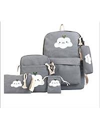 Antifiction Backpack 5 In 1 Bag Kit For Kids Girls School College Travel Bag + Sling Messenger Bag + Purse + Pencil...
