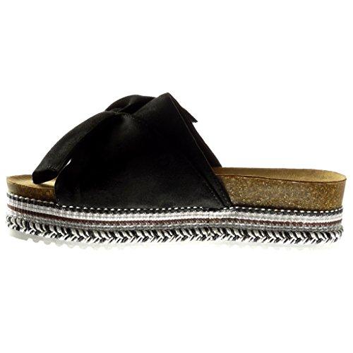 Angkorly - Chaussure Mode Sandale plateforme slip-on femme noeud papillon tréssé Talon compensé plateforme 5 CM Noir