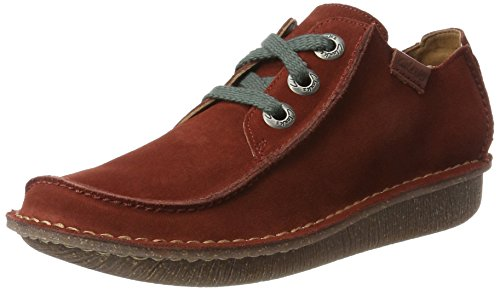 Clarks Damen Funny Dream Derbys, Rot (Rust Suede), 40 EU (Band Schuhe Rot)