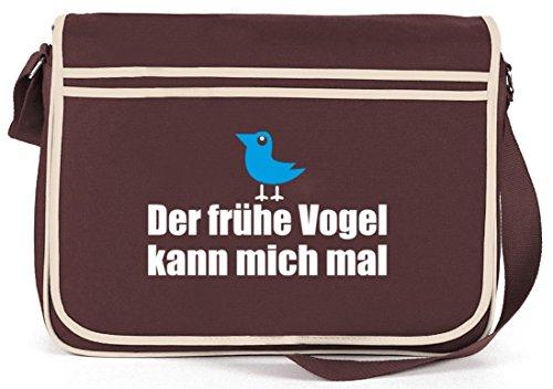 Shirtstreet24, Der frühe Vogel kann mich mal, Retro Messenger Bag Kuriertasche Umhängetasche Braun