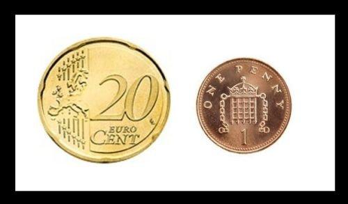 Magic Coin Unique Euro/UK Vanishing Penny 1p/20cent /Flucht Penny /Münze Einzigartige Euro / UK Zaubertrick 20 Cent Euro / 1 Penny