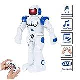 SUNNOW Intelligent Robot Programmable - Contrôle à Distance Jouets Robotique Détection des Gestes Commande Tactile Charge USB, Cadeau pour Les Enfants (Bleu)