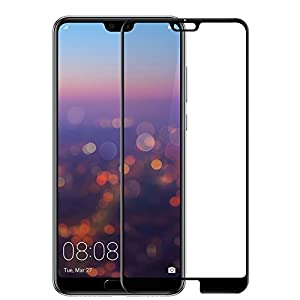 Hupshy Huawei P20 Pro Tempered Glass Screen Protector Full Glue Edge to Edge Fit 9H Hardness Bubble Free Anti-Scratch Crystal Clarity 5D Curved Screen Guard for Huawei P20 Pro - Black (FTG01)