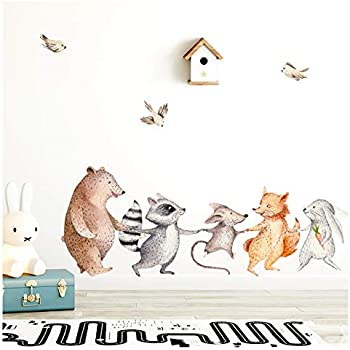 Woodland Wall Decal For/êt Wall Decal pour P/épini/ère Enfants Chambre Wall Sticker Animaux Art Mural Mignon For/êt Animaux Home Decor 71 30 cm